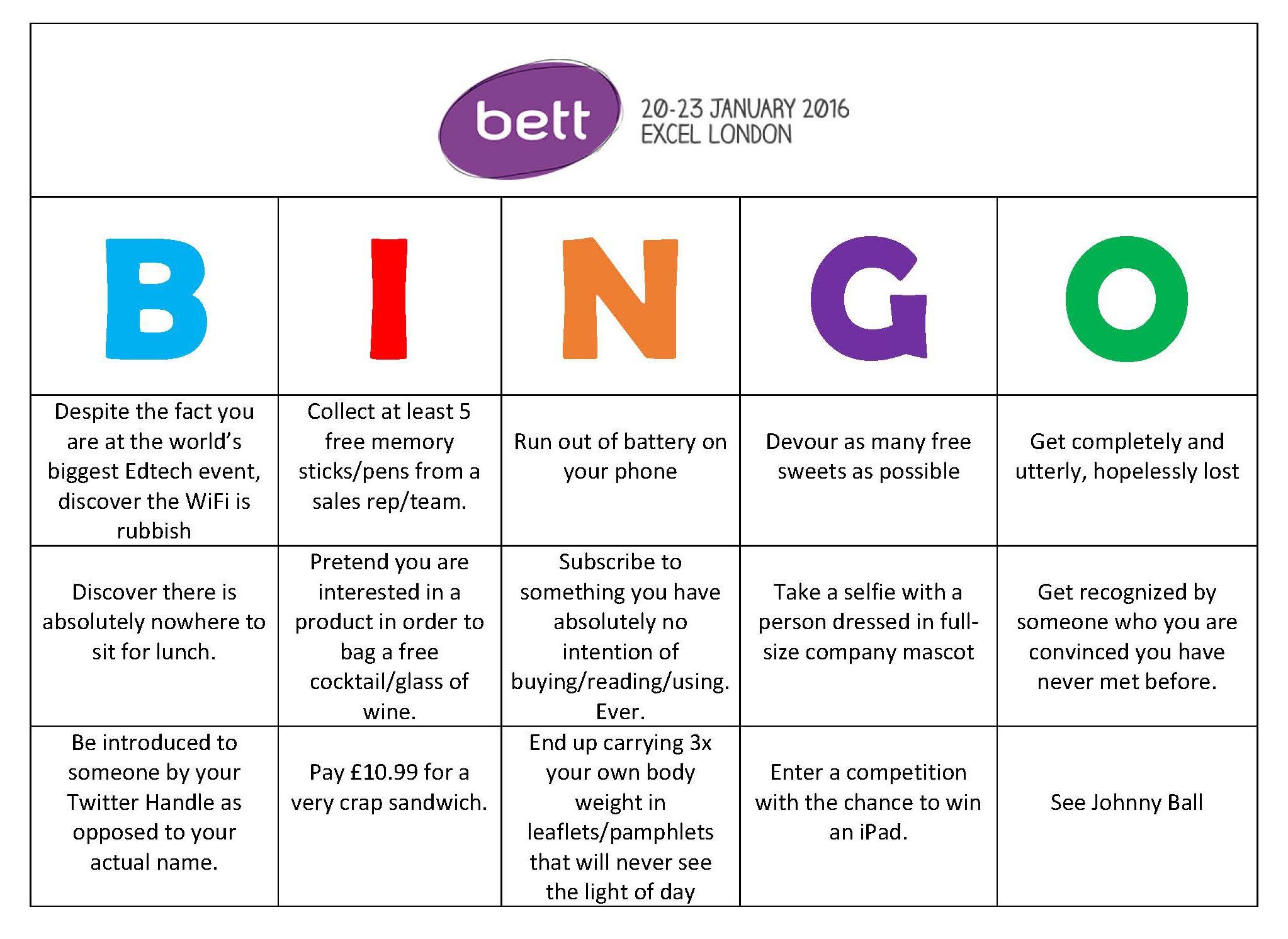 BETT Bingo – Prepare Yourself For The World\'s Biggest Edtech Event ...