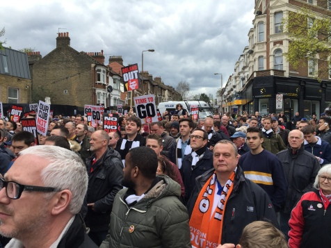 Brighton and Blackpool fans join in the protests.